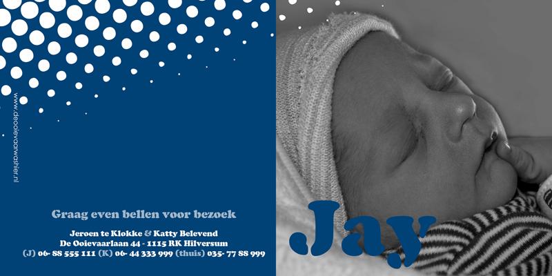 Geboortekaartje jay uniek ontwerp geboortekaartjes op maat - Ontwerp buitenkant ontwerp ...